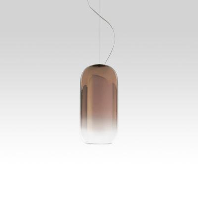 Lighting - Pendant Lighting - Gople Mini Pendant - / Glass - H 29 cm by Artemide - Bronze / Transparent gradient - Aluminium, Metallized blown glass