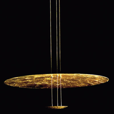 Leuchten - Pendelleuchten - Macchina della Luce B Pendelleuchte / Ø 80 cm x H 145 cm - Catellani & Smith - Gold - Aluminium, Feuilles d'or, Messing