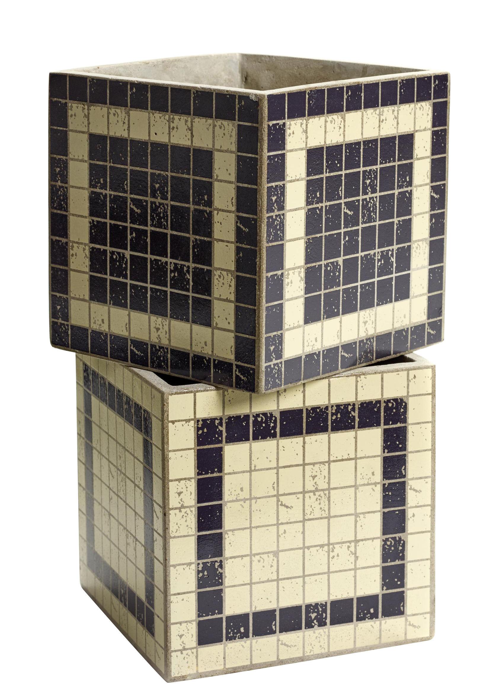 Déco - Pots et plantes - Pot Marie Mosaïque / 17x17 cm - Set de 2 - Serax - Beige & noir - Béton émaillé