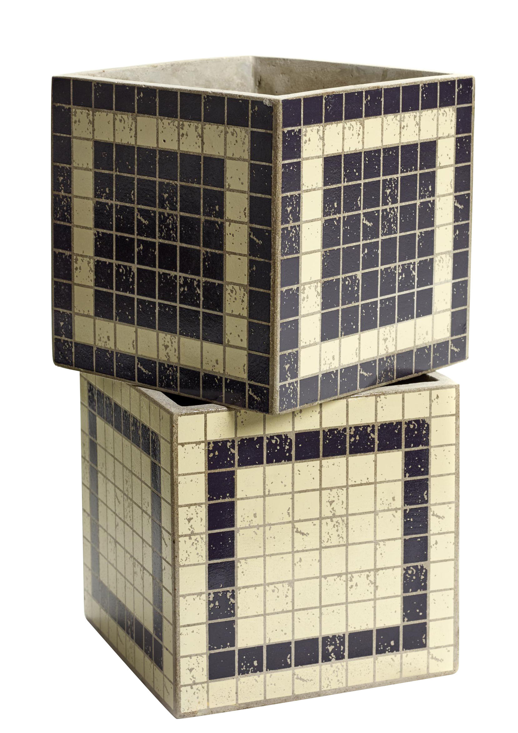 Decoration - Flower Pots & House Plants - Marie Mosaïque Pot - Set of 2 - Mosaic by Serax - Black & White - Enamelled concrete
