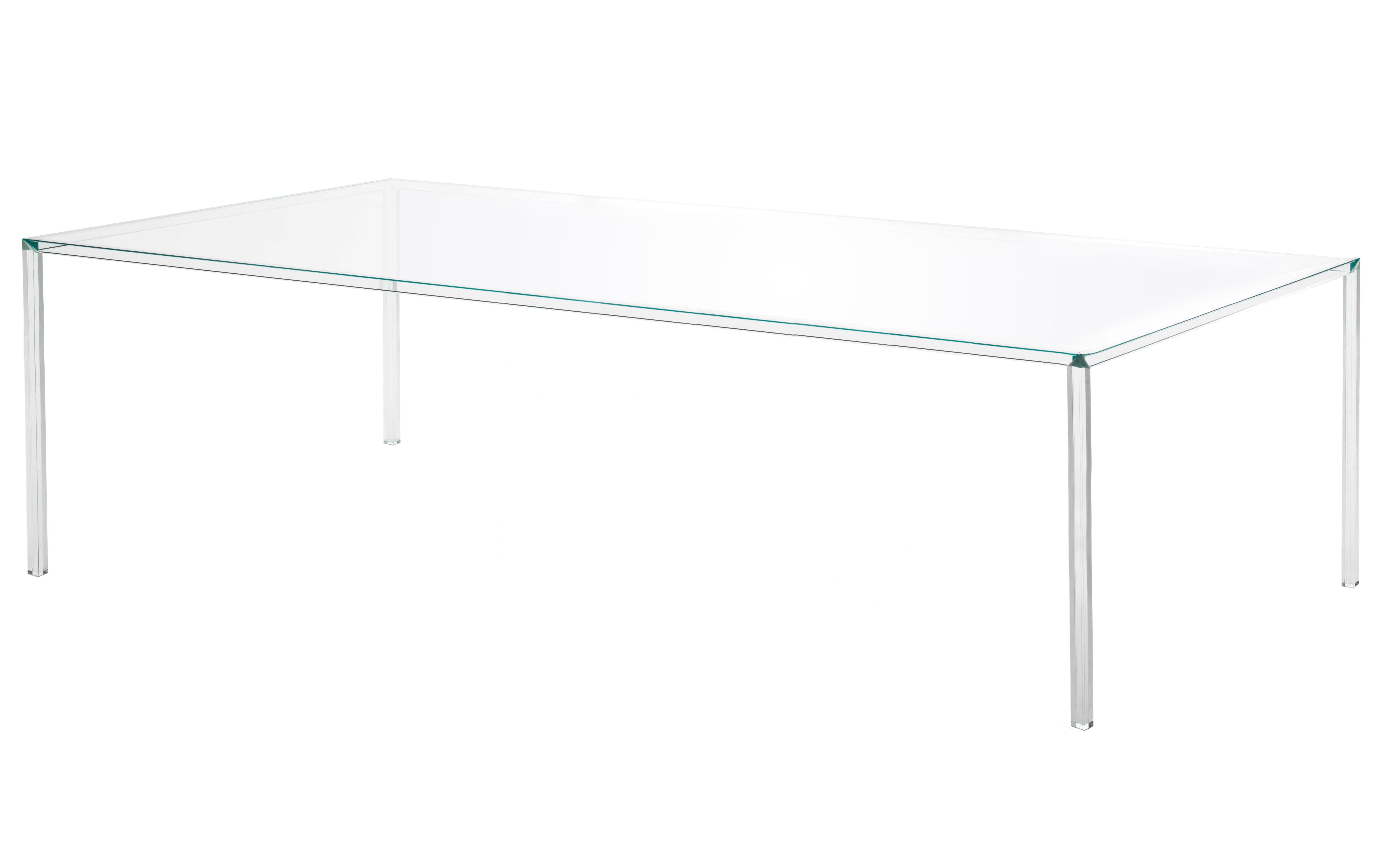 Furniture - Dining Tables - Luminous Rectangular table - 220 x 90 cm by Glas Italia - Transparent cristal - Glass