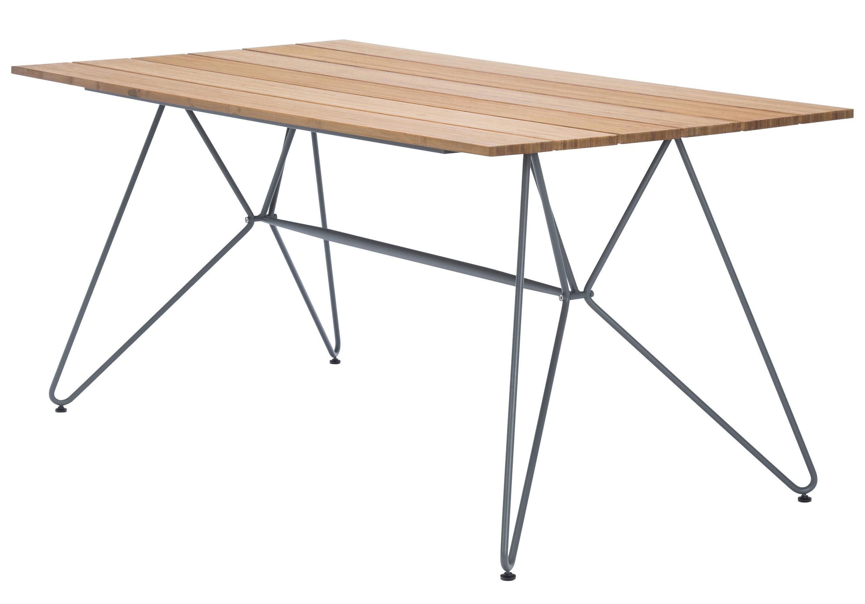 Outdoor - Garden Tables - Sketch Rectangular table - 160 x 88 cm by Houe - Bamboo / Grey feet - Bamboo, Epoxy lacquered metal