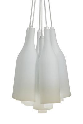 Illuminazione - Lampadari - Sospensione Bacco multiple - / Vetro satinato - 6 bottiglie - Ø 30 cm di Karman - Bianco - Verre givré