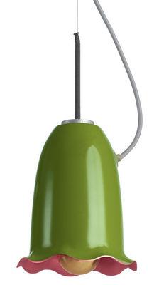 Illuminazione - Lampadari - Sospensione Blossom - Flower di Belux - Verde oliva / Interno rosa - Alluminio