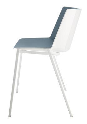 Möbel - Stühle  - Aïku Stapelbarer Stuhl / eckige Stuhlbeine, Metall - MDF Italia - Weiß & Innenseite blau / Stuhlbeine weiß - bemalter Stahl, Polypropylen