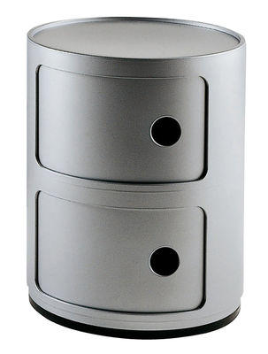Furniture - Teen furniture - Componibili Storage - 2 elements by Kartell - Silver - ABS