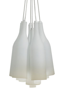 Suspension Bacco multiple / Verre givré - 6 bouteilles - Ø 30 cm - Karman blanc en verre
