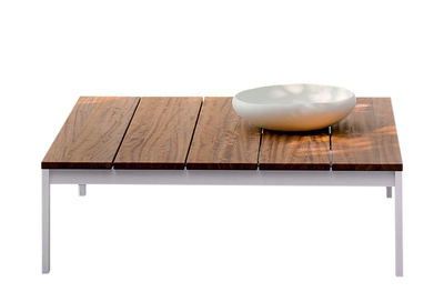Table basse be-Easy / Teck - 100 x 99 cm - Kristalia blanc/bois naturel en métal/bois