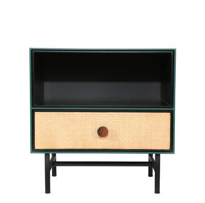 Mobilier - Tables basses - Table de chevet Essence / Bois & rotin - Maison Sarah Lavoine - Noir & vert - Bois laqué, Métal, Palissandre, Rotin, Velours