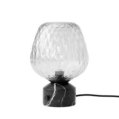 Lighting - Pendant Lighting - Blown SW6 Table lamp - / Marble & blown glass by &tradition - Silver / Black marble - Marquina marble, Mouth blown glass