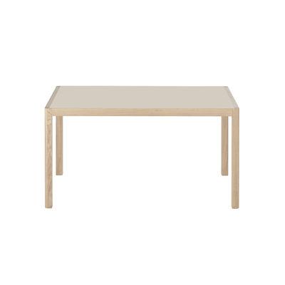 Table rectangulaire Workshop / Linoleum - 140 x 92 cm - Muuto gris clair,chêne naturel en matière plastique