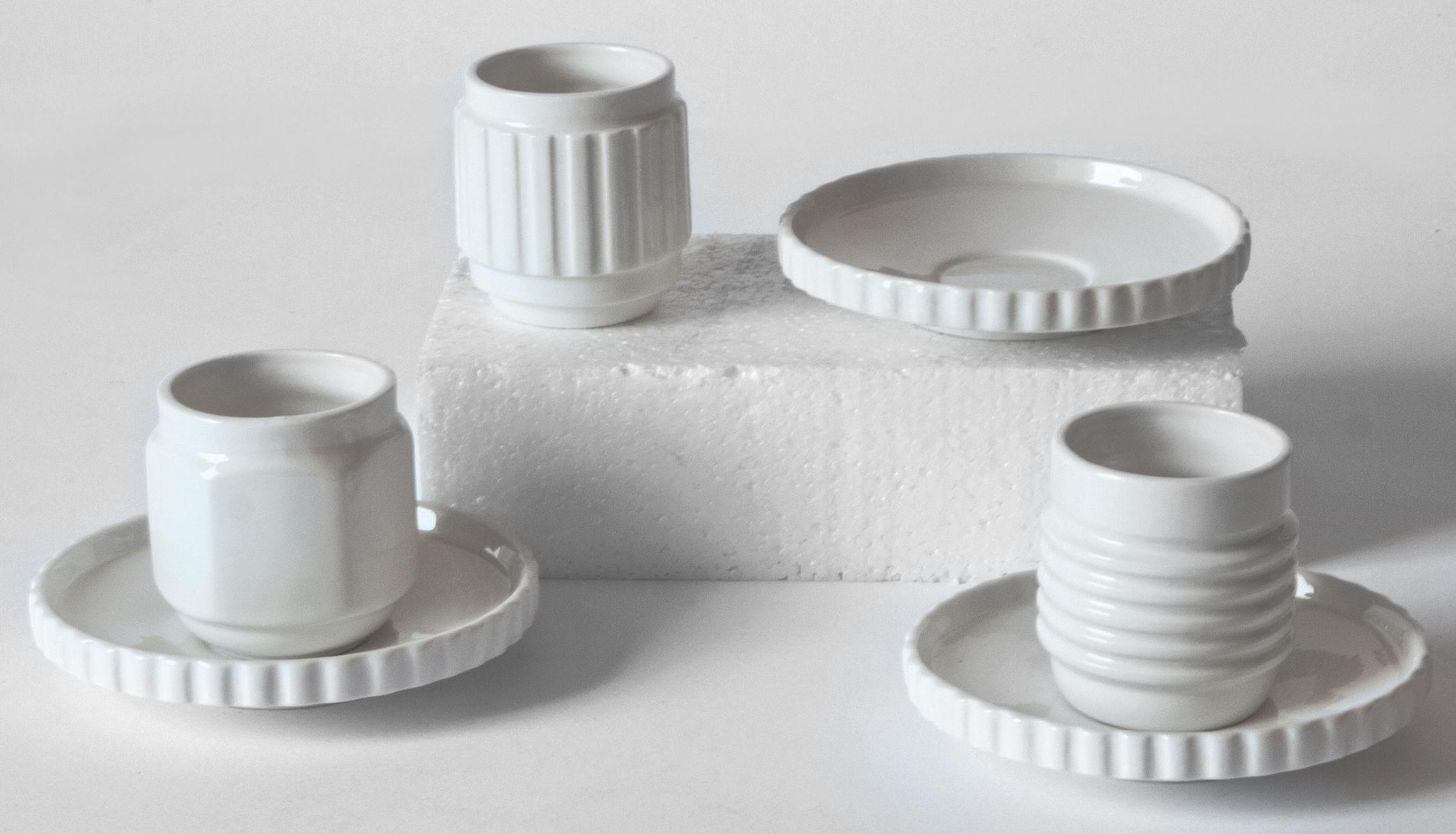Arts de la table - Tasses et mugs - Tasse à espresso Machine Collection / Set de 3 + soucoupes - Diesel living with Seletti - Blanc - Porcelaine