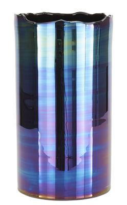 Vase Oil / H 47 cm - Tom Dixon bleu iridescent en verre