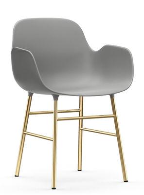 Furniture - Armchairs - Form Armchair - / Brass foot by Normann Copenhagen - Grey & brass - Brass plated steel, Polypropylene