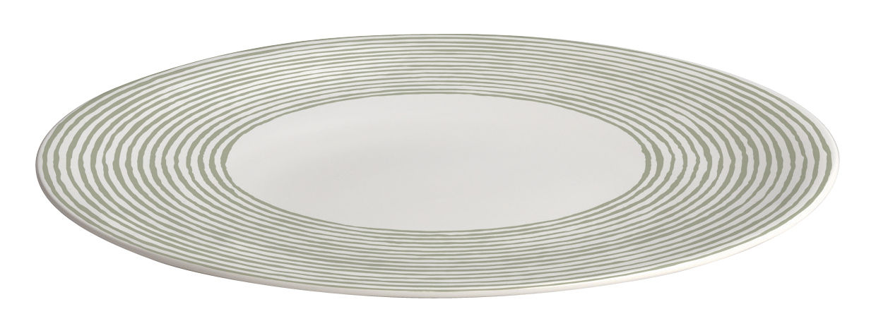 Arts de la table - Assiettes - Assiette Acquerello Ø 27 cm - A di Alessi - Assiette plate / Blanc & vert - Porcelaine Bone China