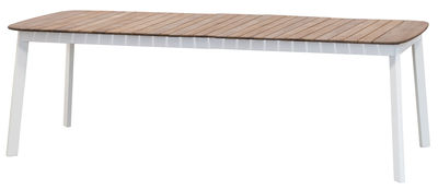 Outdoor - Gartentische - Shine Ausziehtisch / Tischplatte aus Teakholz - L 180 bis 292 cm - Emu - Weiß / Tischplatte Teak - klarlackbeschichtetes Aluminium, Teakholz