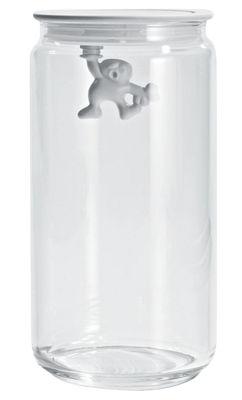Bocal hermétique Gianni a little man holding on tight / 140 cl - A di Alessi blanc en verre/matière plastique
