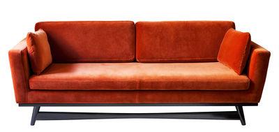 Canapé droit / L 210 cm - Velours - RED Edition noir,orange fox en tissu