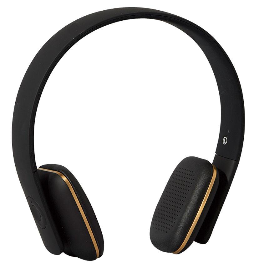 Fête des pères - Objets connectés - Casque audio sans fil A.HEAD / Bluetooth - Kreafunk - Noir / Or - Cuir, Matière plastique