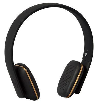 Fête des pères - Objets connectés - Casque Bluetooth A.HEAD / Sans fil - Kreafunk - Noir / Or - Cuir, Matière plastique