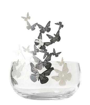 Centre de table Frutteti Papillons / Cristal & acier - Ø 21 cm - Opinion Ciatti argent,transparent en métal