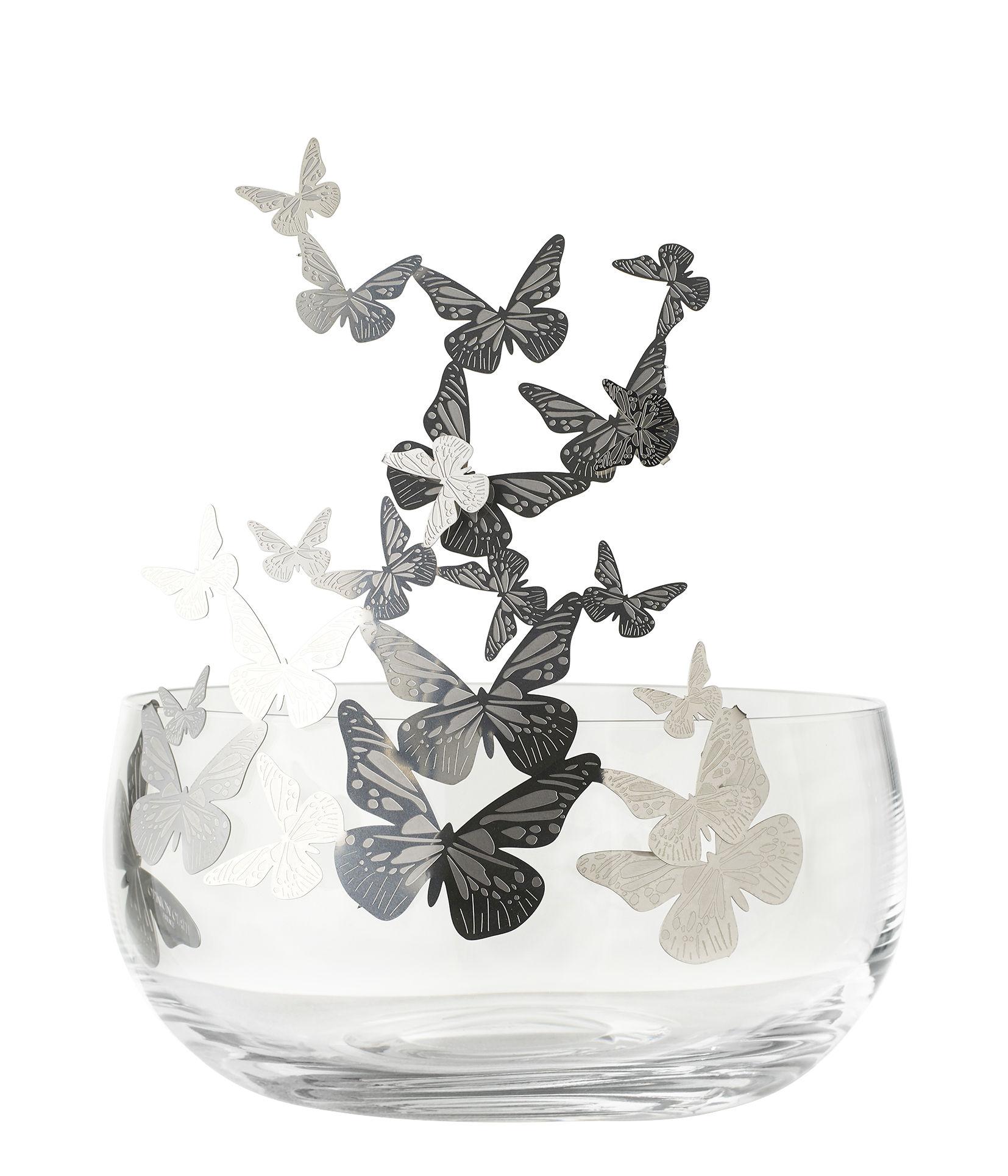 Déco - Vases - Centre de table Frutteti Papillons / Cristal & acier - Ø 21 cm - Opinion Ciatti - Papillons / Argent - Acier inoxydable, Cristal de Bohême