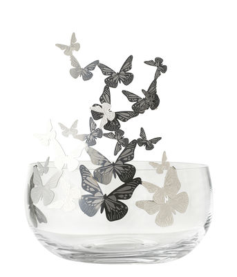 Decoration - Vases - Frutteti Papillons Centrepiece - / Cristal & acier - Ø 21 cm by Opinion Ciatti - Butterflies / Silver - Bohemia crystal, Stainless steel