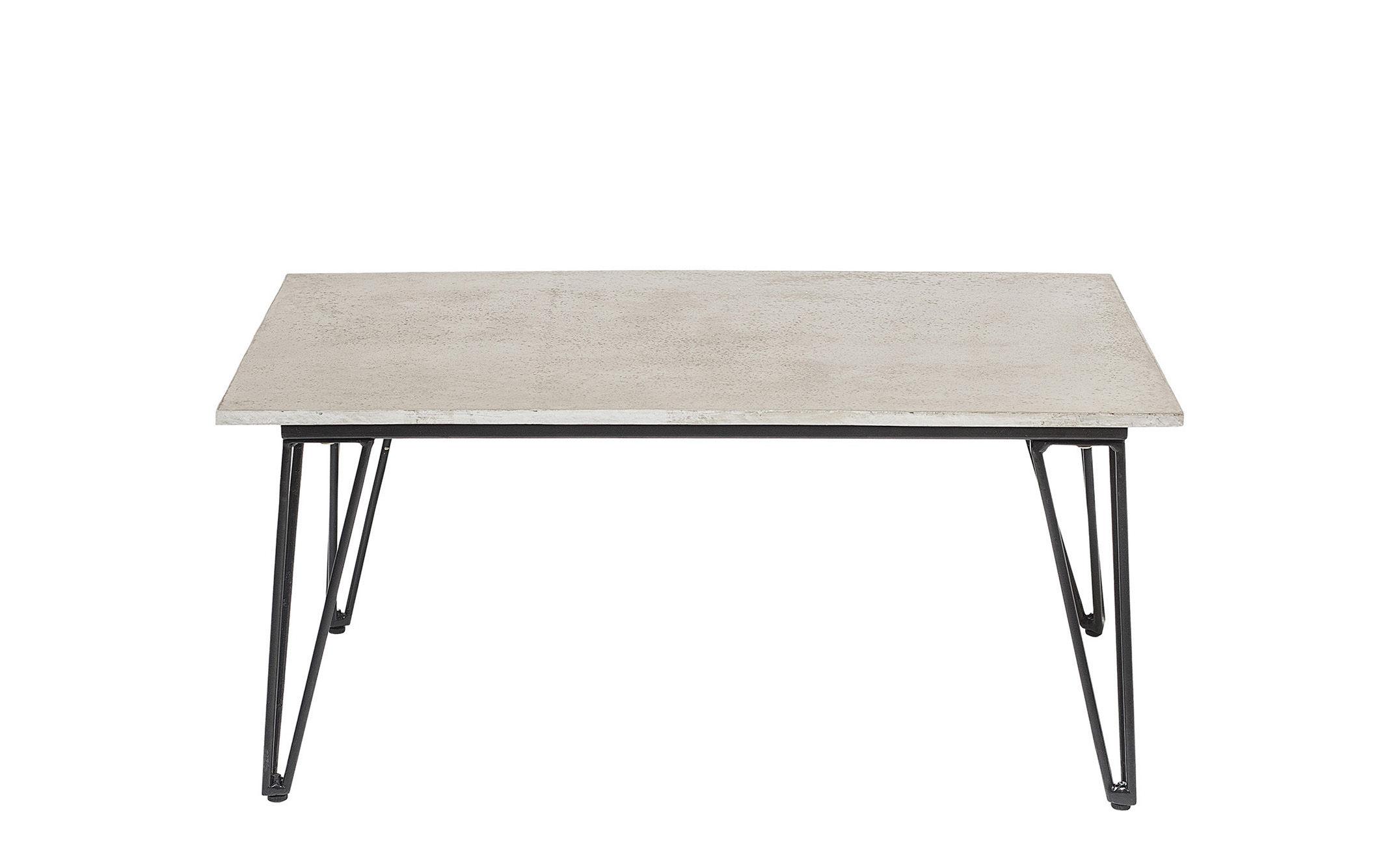 Furniture - Coffee Tables - Concrete Coffee table - / Concrete - 90 x 60 cm by Bloomingville - Grey concrete / Black - Concrete, Lacquered steel