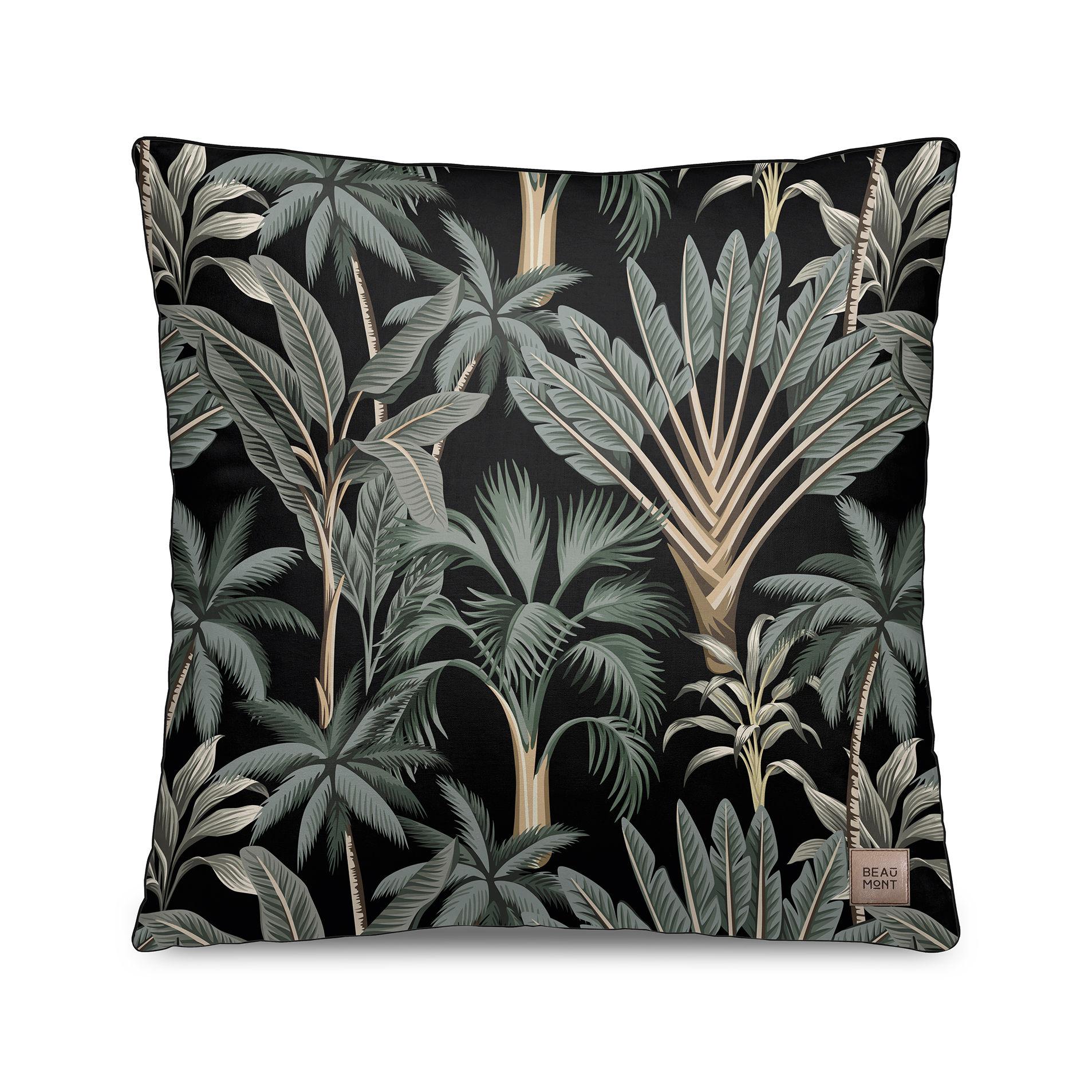 Decoration - Cushions & Poufs - Tresors Cushion - / Velvet - 45 x 45 cm by Beaumont - Palmiers No. 3 / Black & green - Polyester, Velvet