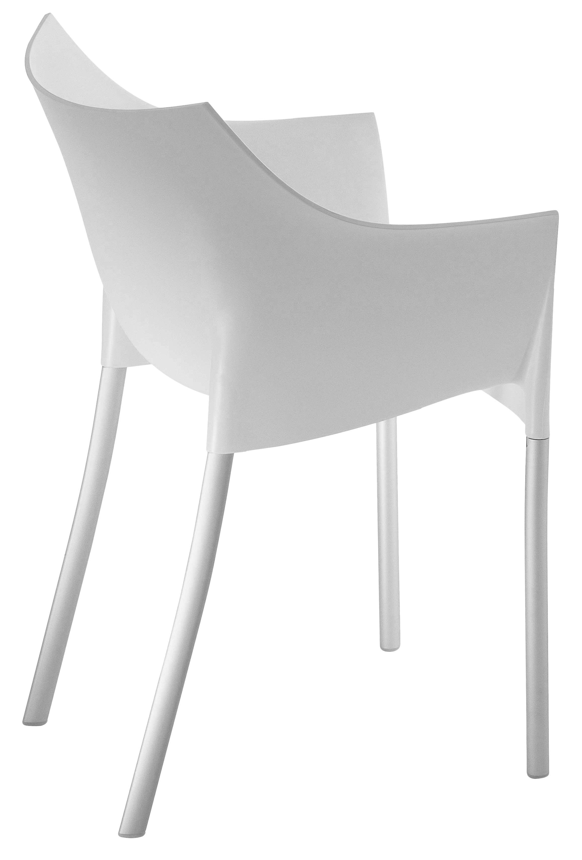 Mobilier - Chaises, fauteuils de salle à manger - Fauteuil empilable Dr. No / Plastique & pieds métal - Kartell - Blanc cire - Aluminium, Polypropylène
