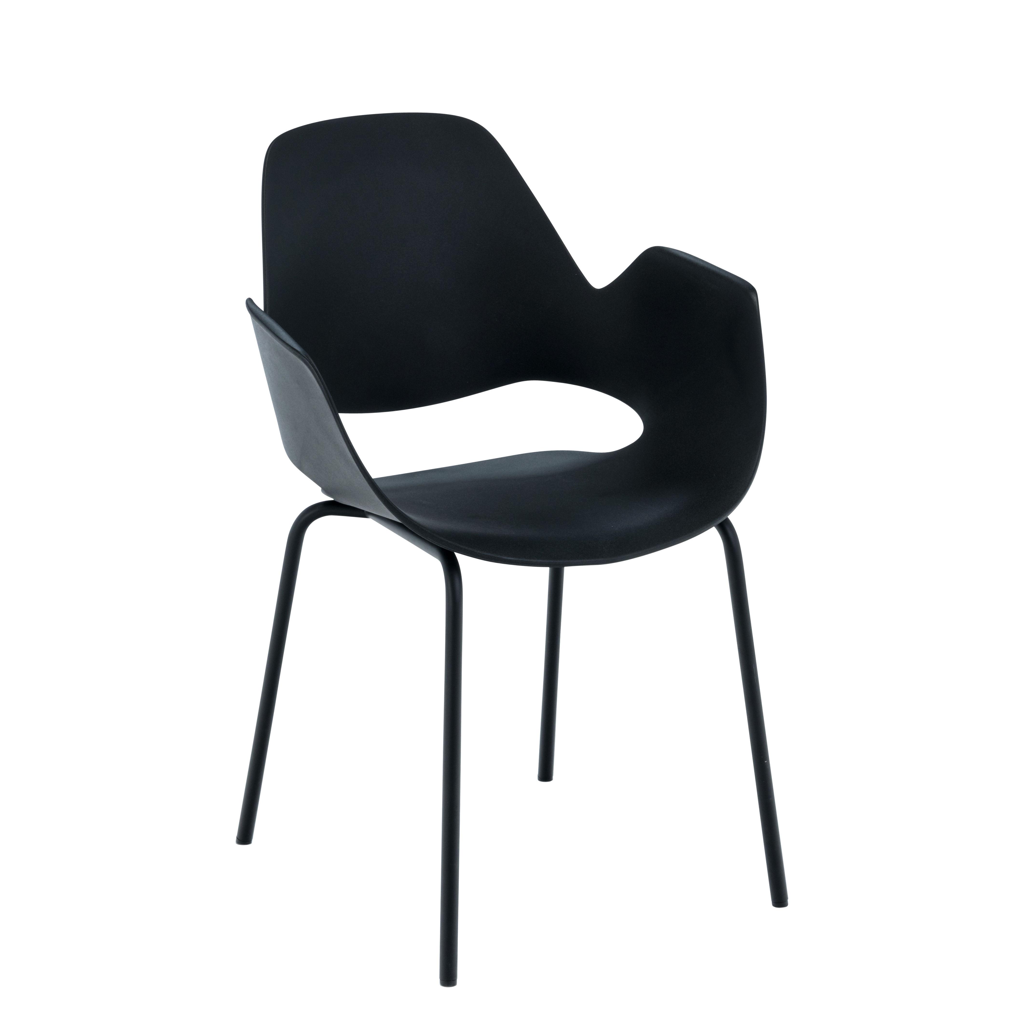 Mobilier - Chaises, fauteuils de salle à manger - Fauteuil empilable Falk / Déchets ménagers recyclés - Pieds métal - Houe - Noir / Pieds noirs - Métal laqué époxy, Plastique recyclé