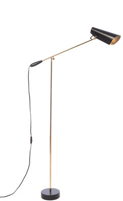 Lighting - Floor lamps - Birdy Floor lamp - / H 133 cm - Dahl 1952 by Northern  - Black shade (inside and outside) / Brass structure - Acier finition laiton, Painted aluminium