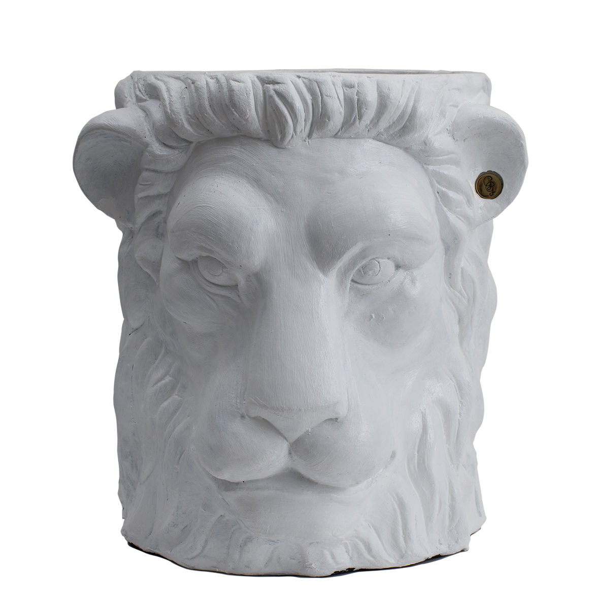 Outdoor - Pots & Plants - Lion Large Flowerpot - / Outdoor - H 40 cm by Garden Glory - White / brass - Brass, Painted terracotta