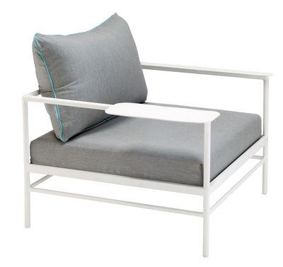 Möbel - Lounge Sessel - Rivage Gepolsterter Sessel / Stoffbezug - Vlaemynck - Stoffbezug grau / weiß - extrudiertes Aluminium, Polyurethan-Schaum, Sunbrella-Stoff