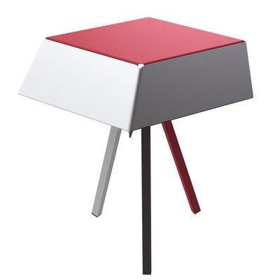 Guéridon Kuban / H 60 cm - Matière Grise blanc,rouge,anthracite en métal