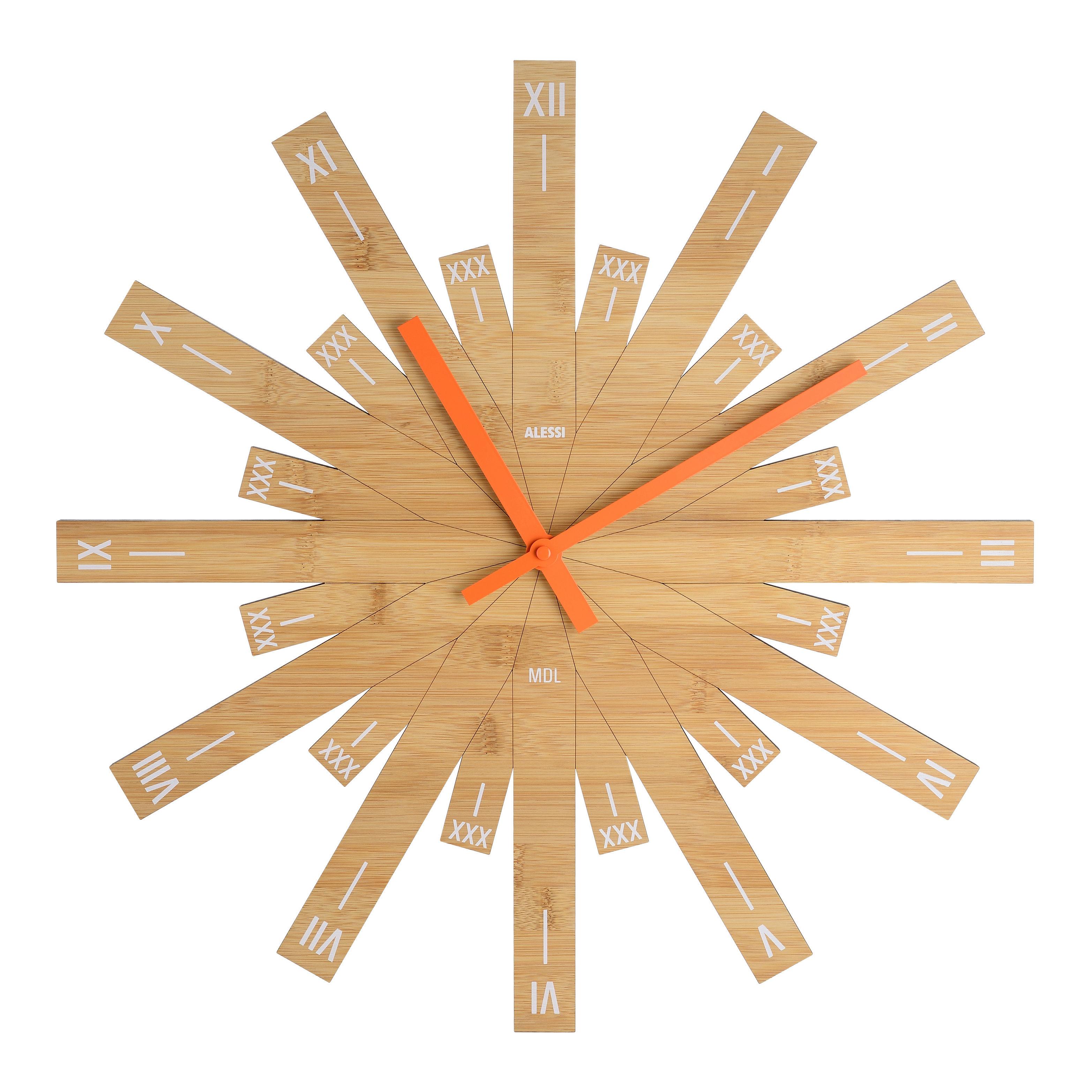Déco - Horloges  - Horloge murale Raggiante / Bambou- Ø 48 cm - Alessi - Bois / Aiguilles oranges - Bambou