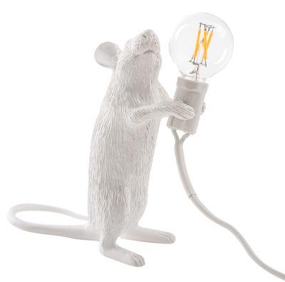 Interni - Per bambini - Lampada da tavolo Mouse Standing #1 / Topolino in piedi - Topolino in piedi / Bianco - Resina