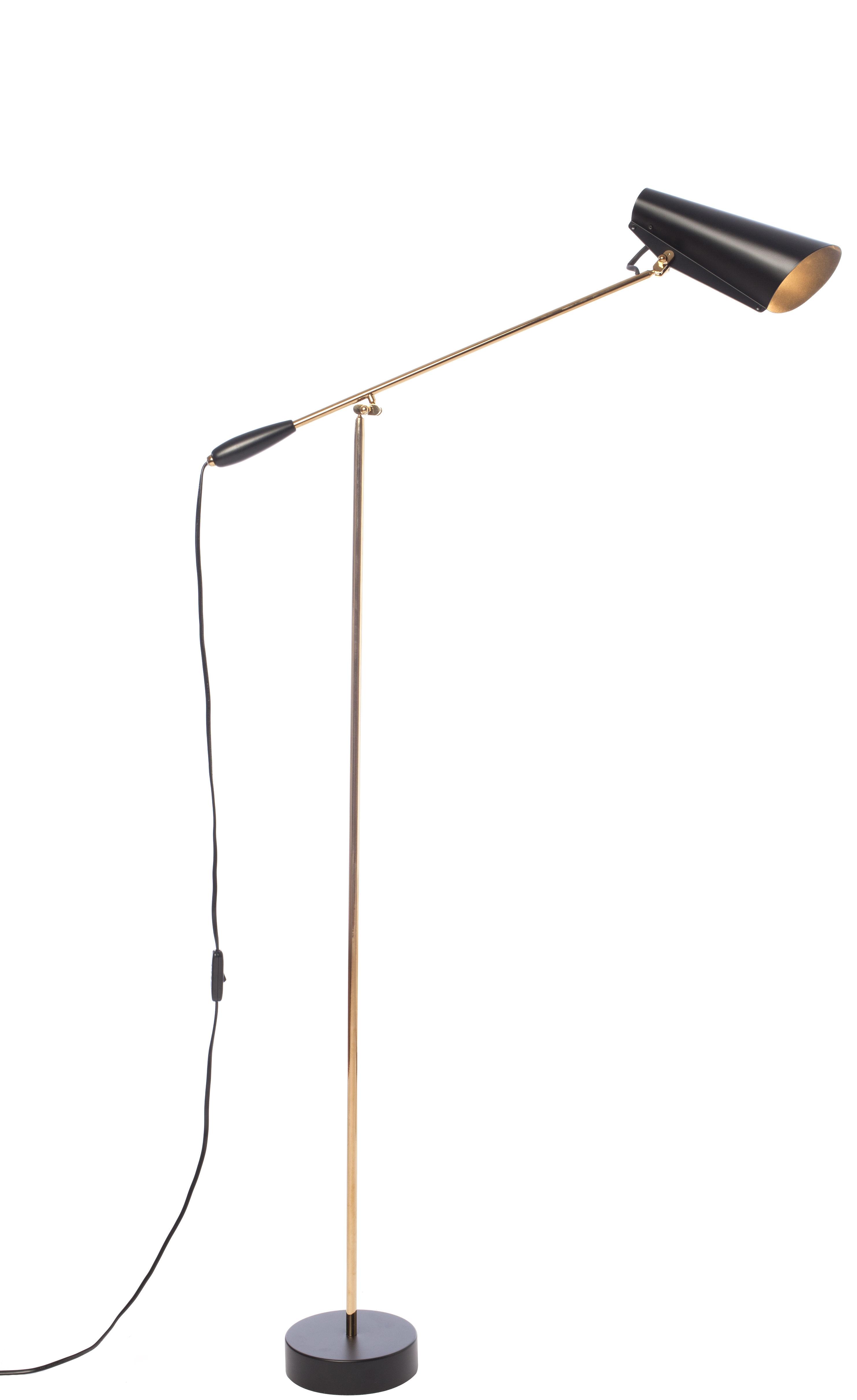 Luminaire - Lampadaires - Lampadaire Birdy / H 133 cm - Réédition 1952 - Northern  - Noir / Bras laiton - Acier finition laiton, Aluminium peint