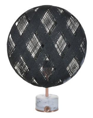 Luminaire - Lampes de table - Lampe de table Chanpen Diamond / Ø 36 cm - Motifs losanges - Forestier - Noir / Cuivre - Abaca tissé, Marbre, Métal