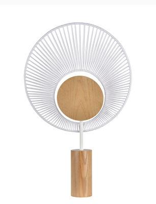 Lampe de table Oyster / H 65 cm - Base chêne - Forestier blanc en tissu/bois