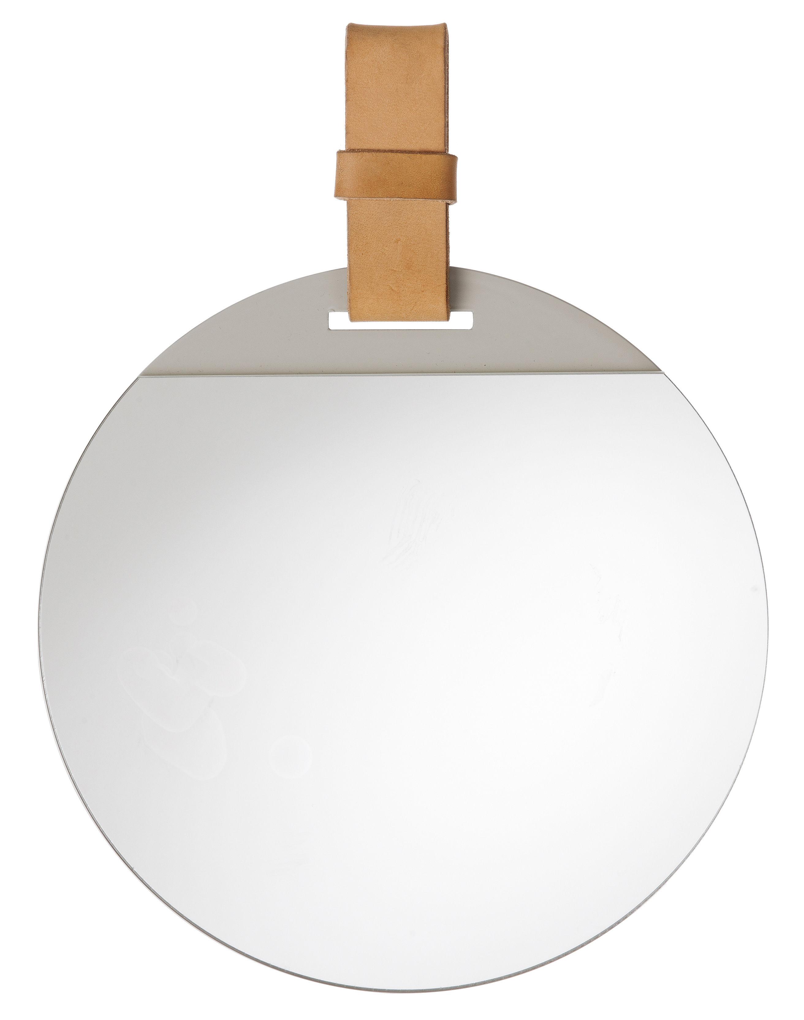 Déco - Miroirs - Miroir mural Enter / Ø 26 cm - Cuir - Ferm Living - Cuir naturel - Cuir, Métal peint, Verre