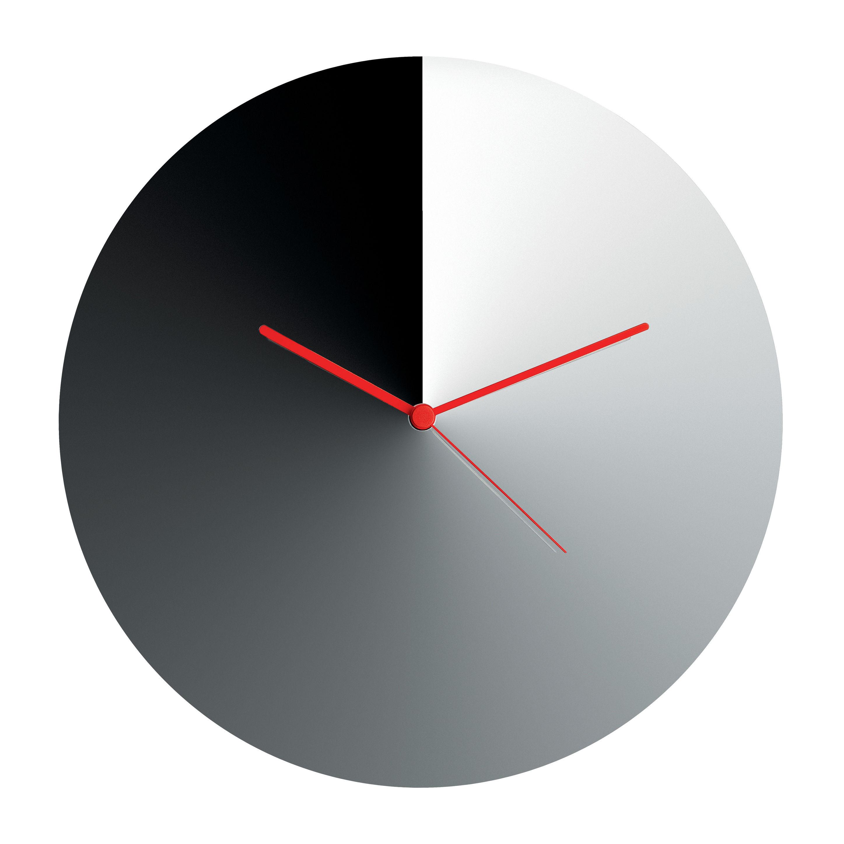 Interni - Orologi  - Orologio a parete Arris / Acciaio - Ø 30 cm - Alessi - Cromato / Lancette rosse - Acciaio inox cromato