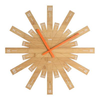 Interni - Orologi  - Orologio a parete Raggiante / Bambù- Ø 48 cm - Alessi - Legno / Lancette arancioni - Bambù