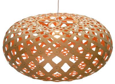 Leuchten - Pendelleuchten - Kina Pendelleuchte Ø 80 cm - zweifarbig - exklusiv - David Trubridge - Orange / Naturholz - Kiefer