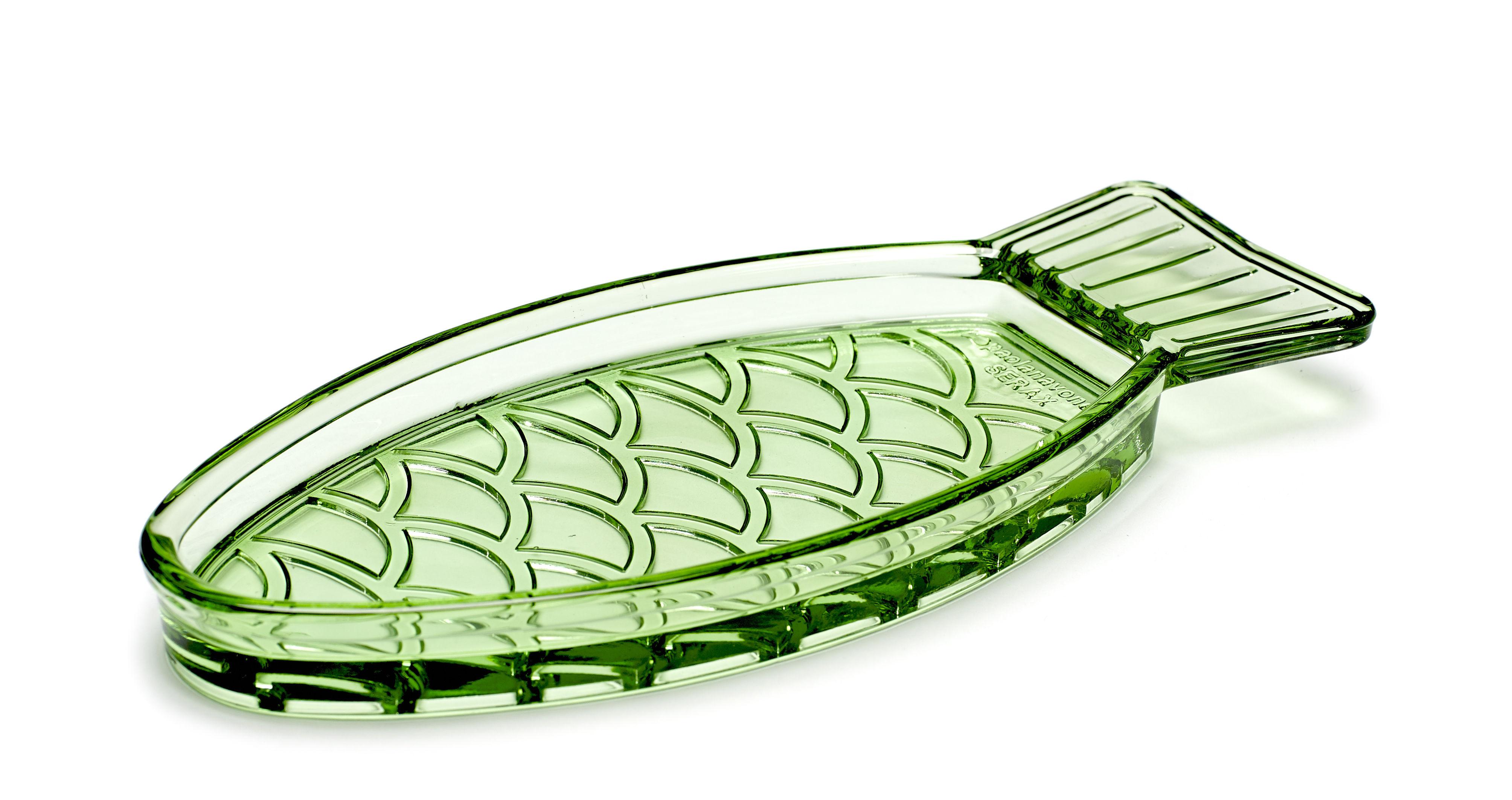 Arts de la table - Plats - Plat Fish & Fish Poisson / Small - 23 x 10 cm - Serax - Vert transparent - Verre pressé