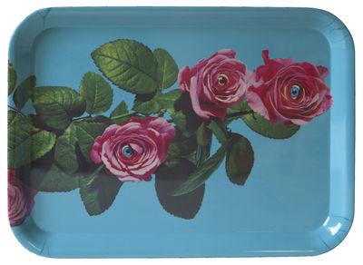Plateau Toiletpaper / Roses - 43 x 32 cm - Seletti turquoise en matière plastique