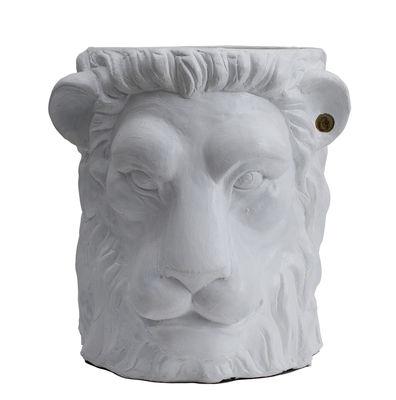 Pot de fleurs Lion Large / Outdoor - H 40 cm - Garden Glory blanc,laiton en céramique