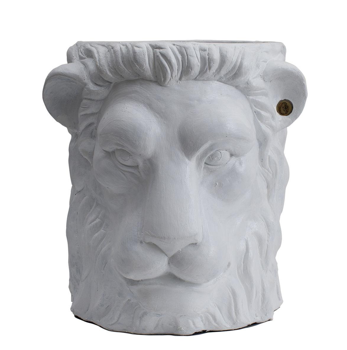 Pot De Fleurs Lion Large Garden Glory Blanc Laiton H 30 X ø 40