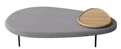 Arredamento - Pouf - Pouf Lily L 110 cm / Piano che ruota - Casamania - Grigio / legno naturale - Espanso, Legno, Metallo, Tessuto