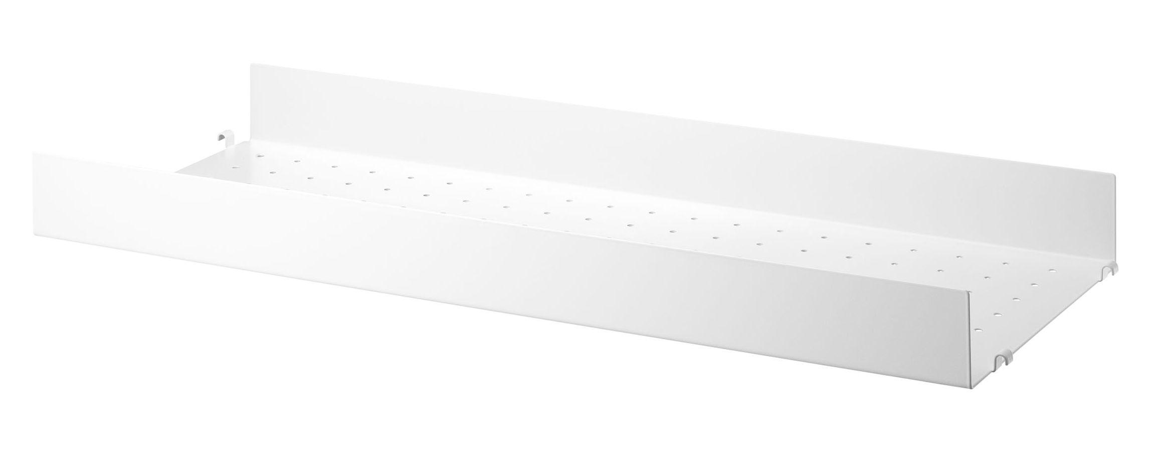 Arredamento - Scaffali e librerie - Scaffale String System - / Metallo traforato, bordo alto - L 78 x P 30 cm di String Furniture - L 78 cm / Bianco - metallo laccato